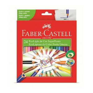 Lápis de Cor Faber-Castell 24 Cores Super Ponta Triangular