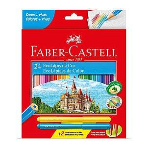 Lápis de Cor Faber-Castell 24 Cores Com 2 Canetinhas Sextavado