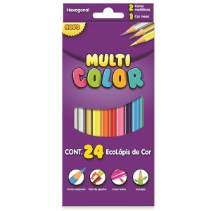 Lápis de Cor 24 Cores Multi Color Sextavado