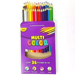 Lápis de Cor 36 Cores Multi Color Sextavado