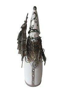 Papai Noel Porcelana Branco com Prata 31cm Strech