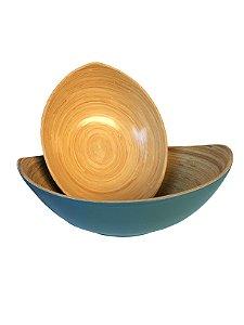 Jogo de Tigelas Decorativas Bambu Azul 2 Peças Xilya
