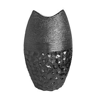 Vaso Decorativo Prata Cerâmica 34cm