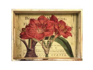 Bandeja de Madeira Tecido Com Flores Vintage Grande Xilya