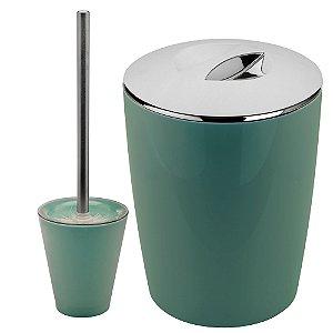 Conjunto Para Banheiro Ou Lixeiro e Escova Verde 2 Peças