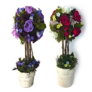 Jogo de Vasos com Flor para Parede 28cm Empório das Flores