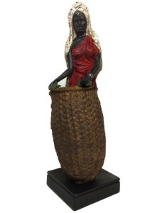 Africana de Resina Vestido Vermelho com Cesto Espressione