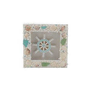 Quadro Decorativo Timão de Madeira com Conchas