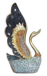 Cisne de Resina Dourado com Espelhos 23cm Zona Livre
