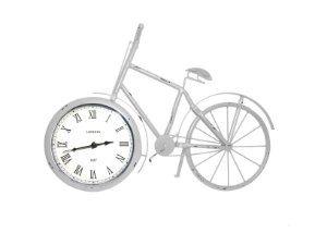 Relógio de Mesa Bicicleta de Metal Branca Vintage