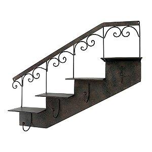 Cabideiro Escada de Metal Marrom