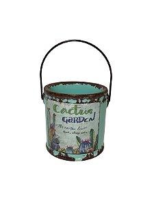 Vaso Cerâmica Para Cactos Balde Verde The Home