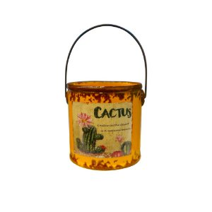 Vaso Cerâmica Para Cactos Balde Laranja The Home