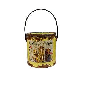 Vaso Cerâmica Para Cactos Balde Amarelo The Home
