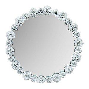 Espelho de Metal Rosas Brancas