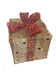 Caixa de Presente Metal Dourada Grande Natália Christmas