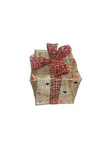 Caixa de Presente Metal Dourada Pequena Natália Christmas