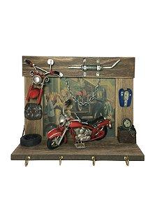 Porta Chaves de Madeira com Moto Vermelha Avalon