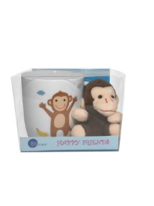 Caneca Happy Friends Macaco com Chaveiro 325ml