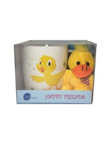 Caneca Happy Friends Pato com Chaveiro 325ml Bon Gourmet