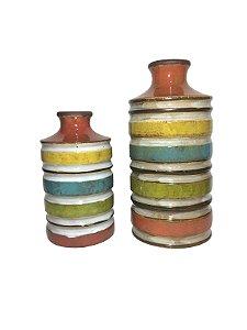 Jogo de Vasos Decorativos Listrados Coloridos Santa Cecilia