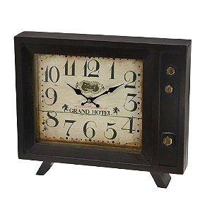 Relógio de Mesa TV Antiga Madeira 34cm Concepts