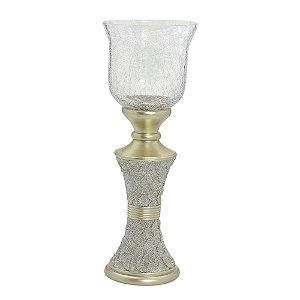 Castiçal de Resina Dourado com Vidro Craquelado