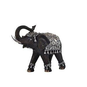 Elefante Decorativo Preto e Prata 25cm Concepts Life