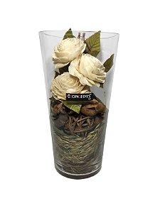 Vaso Decorativo de Vidro com Flores de Fibra Verdes Concepts