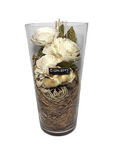 Vaso Decorativo de Vidro com Flores de Fibra Concepts
