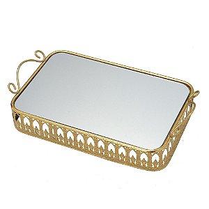 Bandeja Decorativa Dourada com Espelho