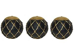 Esferas Decorativas 3 Peças Preto com Dourado