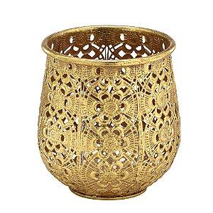 Castiçal Metal Dourado 18cm