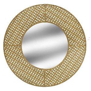 Espelho Redondo Dourado de Metal 71cm Concepts