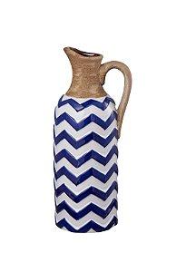 Vaso Decorativo Jarro Azul e Branco