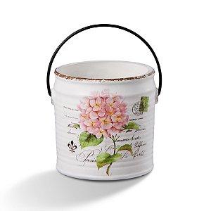 Vaso Cahepot de Cerâmica Flor Rosa com Alça 18cm Bencafil