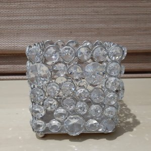 Porta Vela De Cristal 10cm Prata