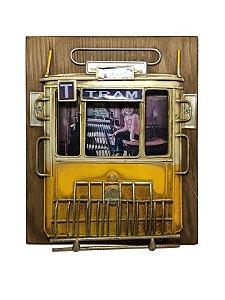 Porta Retrato de Madeira Trem Amarelo