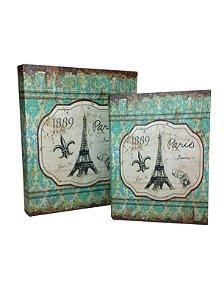 Jogo de Caixas Livro de Madeira 1889 Paris Mart