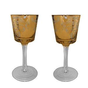 Castiçal de Vidro Dourado Espelhado 18cm 2 Peças Sweet Decor
