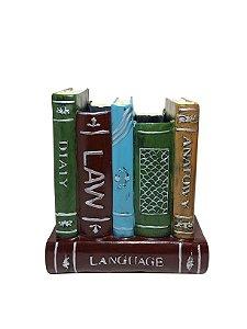 Porta Caneta Estante de Livros de Resina Lunne