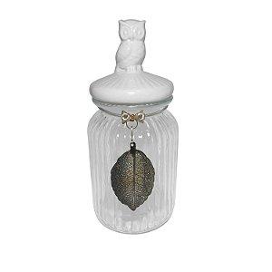 Pote Decorativo Vidro com Tampa de Coruja 22cm Nataluz