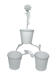 Floreira de Metal Branca 3 Vasos Nataluz