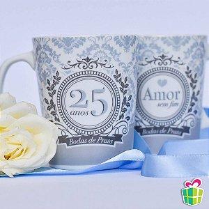 Canecas Bodas De Prata 25 Anos de Porcelana Brasfoot 2 Peças