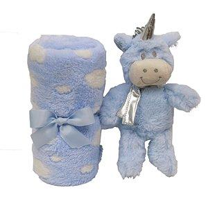 Kit Manta com Para Bebê Unicórnio Azul Buba