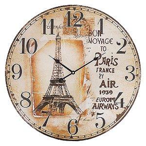 Relógio de Parede Grande Redondo Bon Voyage 57cm