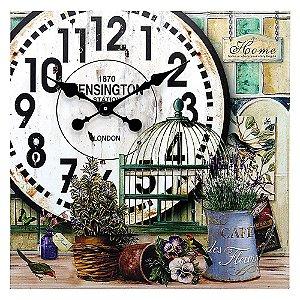 Relógio de Parede Quadrado Gaiolas e Plantas The Home