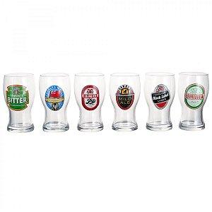 Conjunto de Copos de Cerveja 6 Peças Frevo Rótulos H. Martin