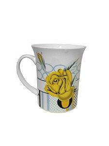Caneca de Cerâmica Flores Amarelas