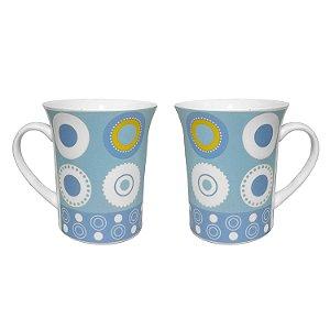 Jogo Canecas de Cerâmica Azul 2 Peças